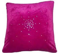 "DIAMANTÉ VELVET DESIGNER FILLED CUSHION FUCHSIA HOT PINK COLOUR LARGE SIZE 22"" x 22"""